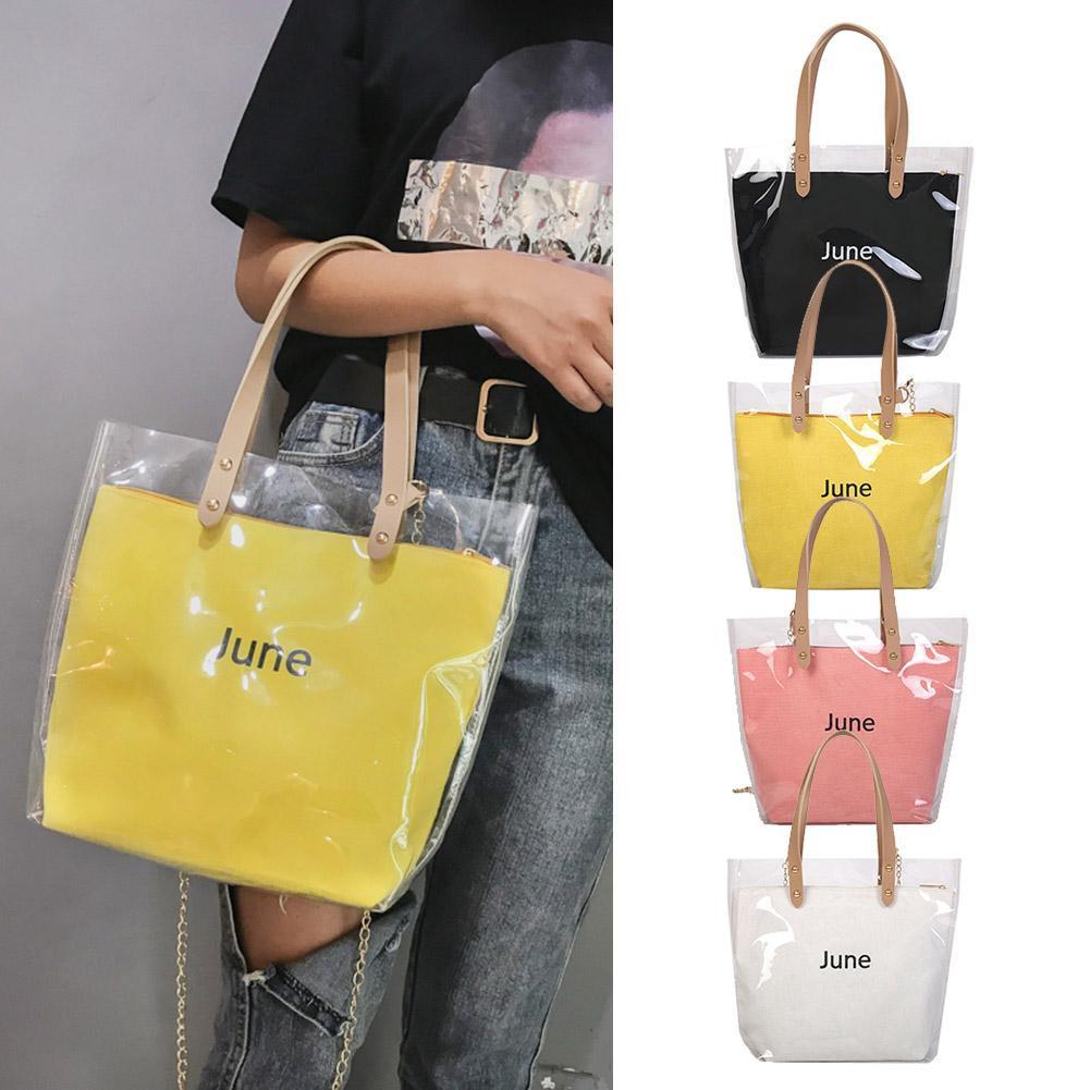 ღ2pcs/set Transparent Shoulder Handbags Clutch Women Chain Shopping Totes