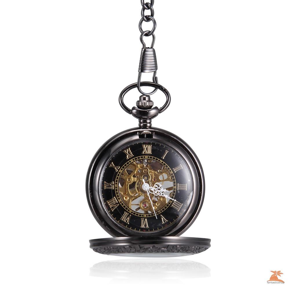#Đồng hồ bỏ túi# Men Women Quartz Pocket Watch Retro Glass Rome Number Dial with Chain