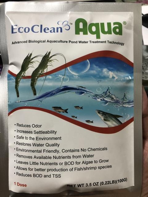 Vi sinh bể cá EcoClean Aqua (USA) - Xử lý tảo, cải thiện nước bể, ao nuôi cá cảnh (100gr/gói)