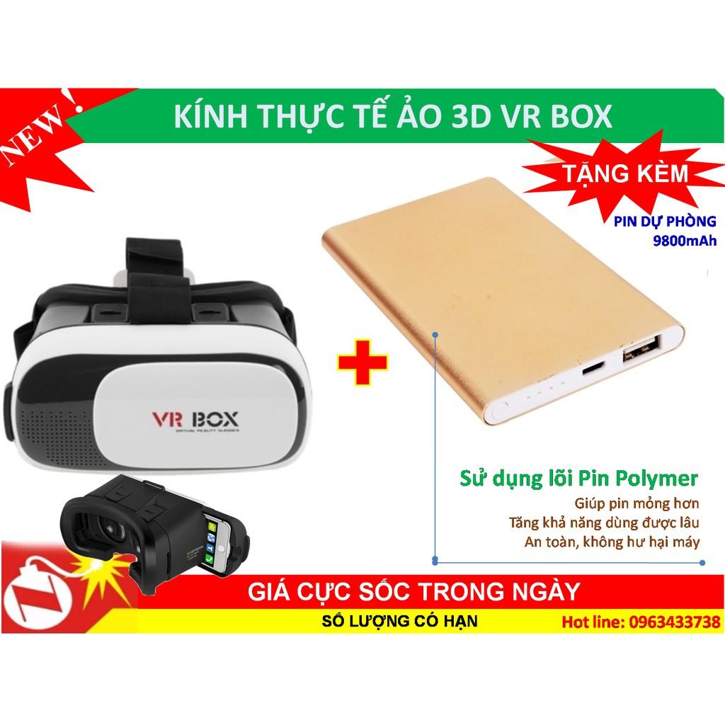 Kính thực tế ảo 3D VR Box thế hệ thứ 2 + Tặng pin dự phòng 9800mah, vỏ kim loại
