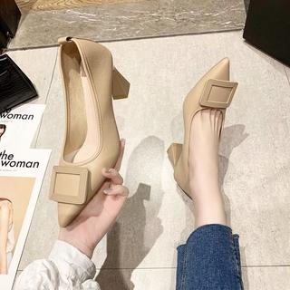 Giày Mũi Nhọn Gót Dày Thời Trang Xuân Thu 2021