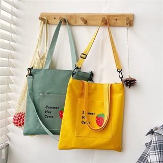 Túi tote vải canvas giá rẻ thời trang LORIEN - Túi vải nữ có khoá miệng đựng vừa A4 phong cách Ulzzang