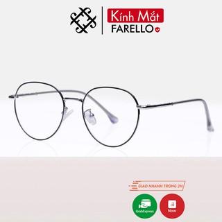 Gọng kính cận nữ FARELLO kim loại, mắt tròn càng kính cứng cáp Y2998