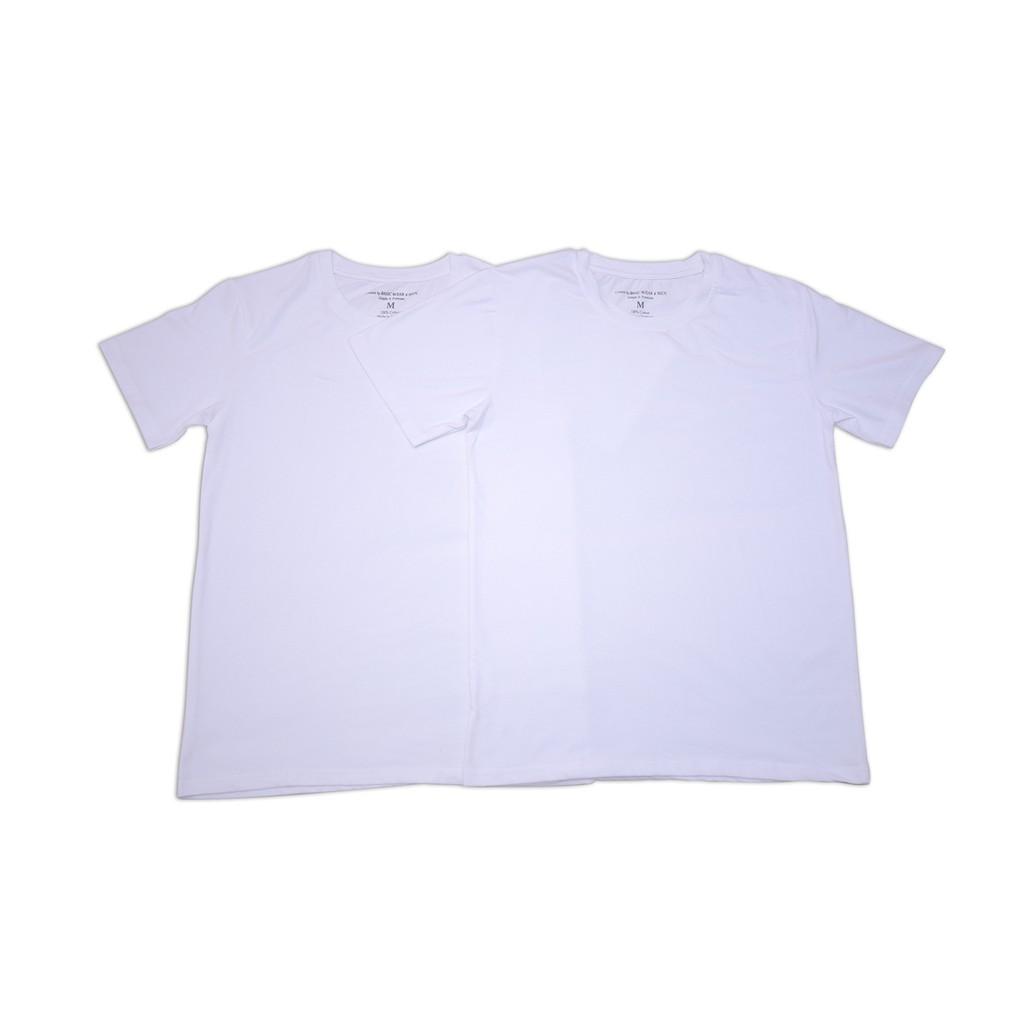 FREESHIP- 2 chiếc áo thun cổ tròn có tay 100% COTTON màu trắng