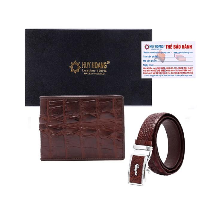 Bộ ví và Thắt lưng nam Huy Hoàng da cá sấu gai đuôi màu nâu đỏ-XH2208-XH4211