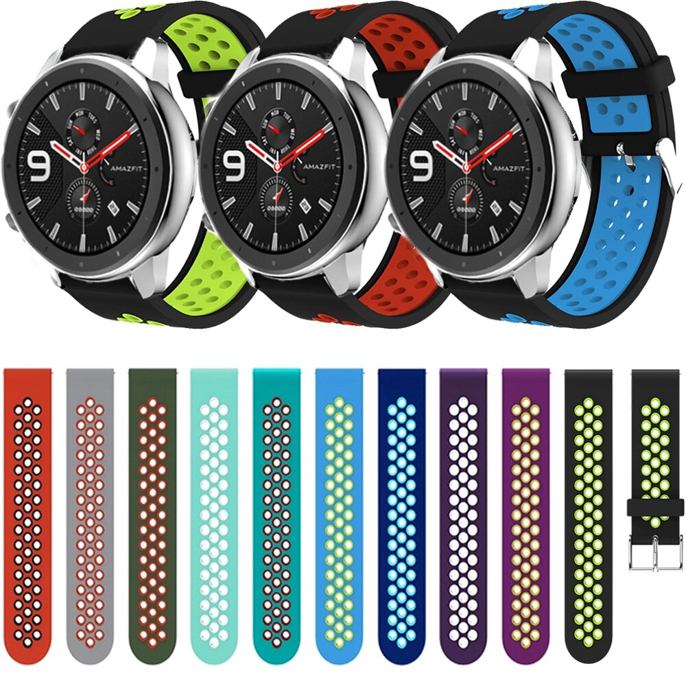 22mm Silicone Watchband Strap for Huami Amazfit GTR 47mm/Galaxy Watch 46mm/Samsung Gear S3 Frontier