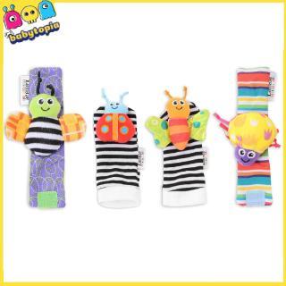 4pcs Newborn Baby Infant Toys Soft Hand Wrist Strap Rattle Handbell Foot Socks