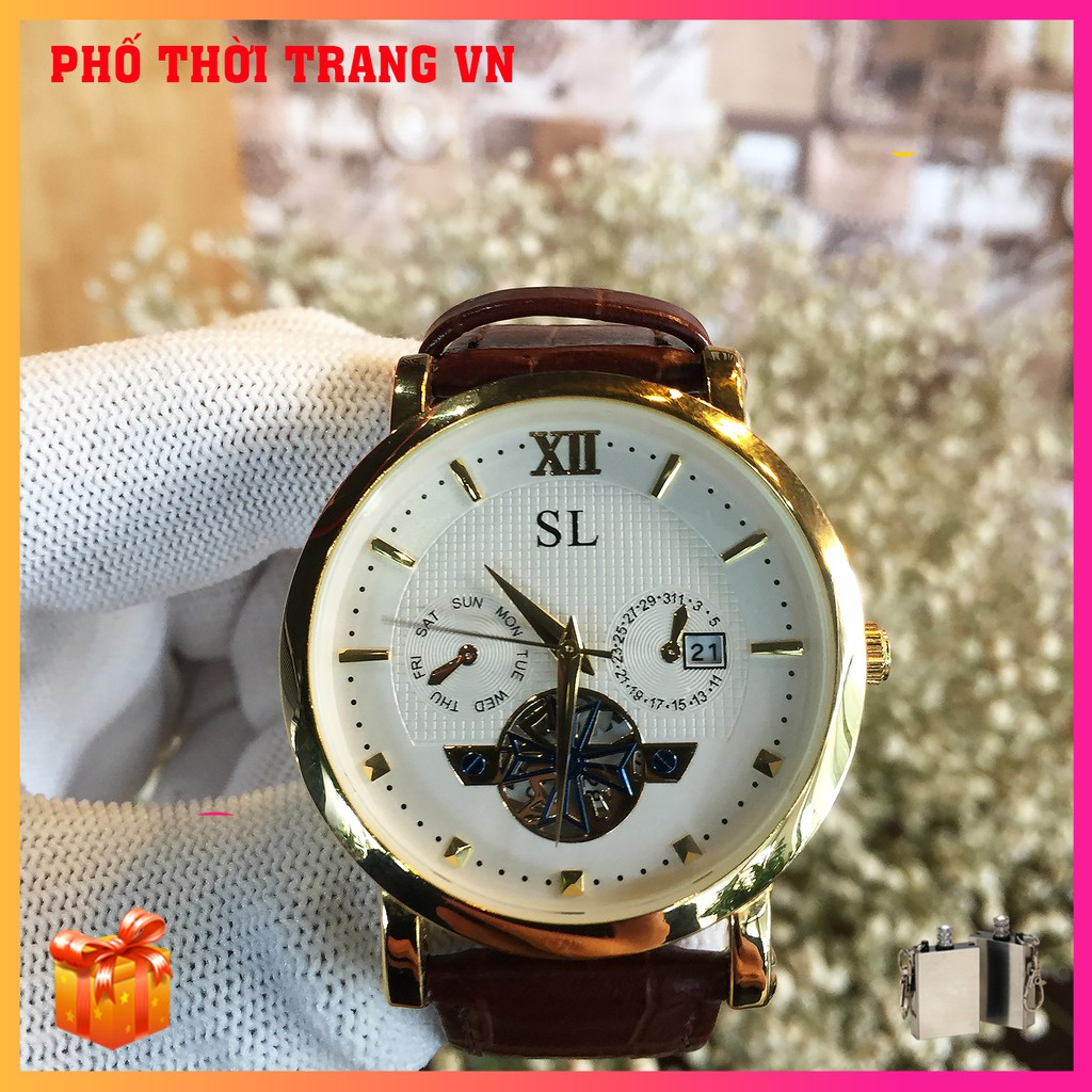 Đồng hồ nam dây da SL 5083G , mặt Sapphire chống nước, chống xước