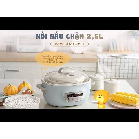 [HCM+BẢN QUỐC TẾ] BEAR 2L5 - Nồi hầm đa năng/ Nồi nấu cháo cách thủy BEAR 2.5l DDZ-C25E1 màu xanh ngọc xinh xắn