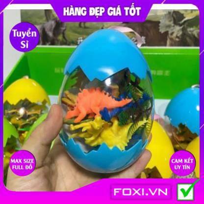 Bộ đồ chơi trứng Khủng Long-Mô hình nhựa dẻo-siêu bền-sưu tầm-chơi trong nhà-màu sắc bắt mắt