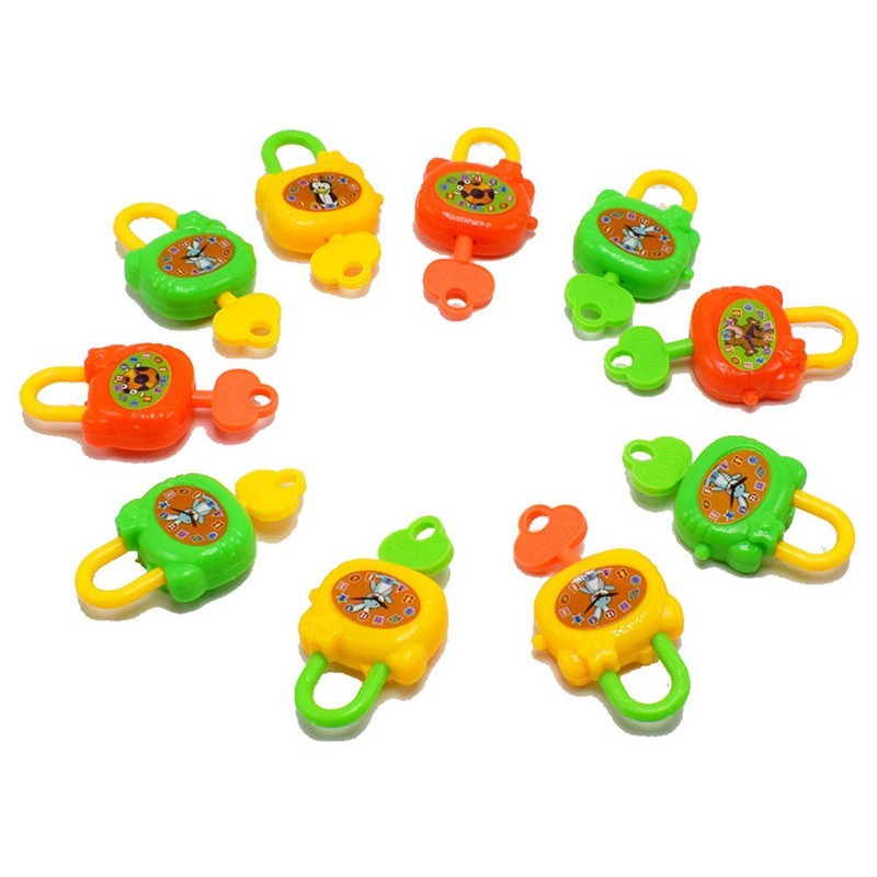 2PCS Plastic Cartoon Keys Toy Locks Notebook Lock Toy For Kids Birthday Gift