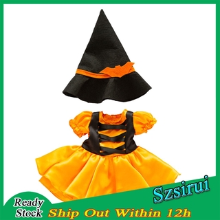 [Ready Stock] Handmade Halloween Clothes for 18in American Doll Dress Hats Pumpkin Light