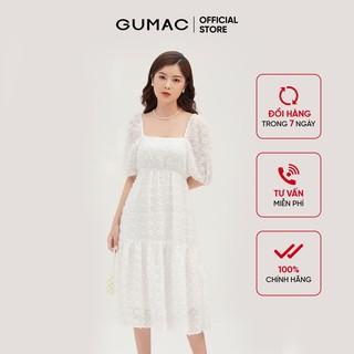 Đầm nữ babydoll nhún eo GUMAC màu trắng, đủ size DB3101 thumbnail