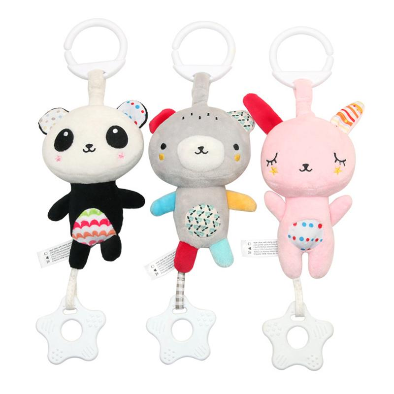 BF*Baby Cartoon Animal Plush Stuffed Bed Stroller Hanging Toy Pendant Windbell
