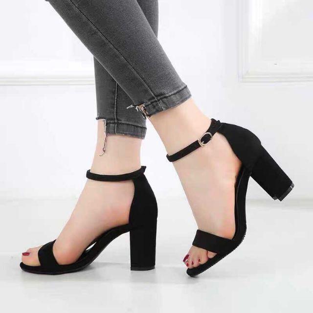 Giày sandal cao gót 7 phân quai ngang thanh lịch(JR11)