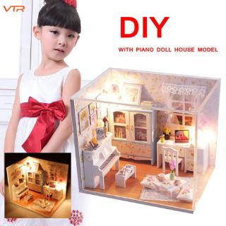 V Model Building Kits Doll House DIY Wood Dollhouse Gifts Piano Decor Living Girls Children
