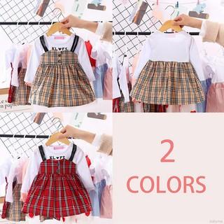 Babyme Children Girls Plaid Print Fake Two Piece Bottoming Long Sleeved Sweet Princess Dress