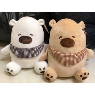 Gấu bông khăn kẻ caro dáng ngồi siêu mềm (ảnh thật)