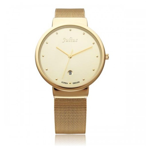 Đồng hồ nam dây thép lưới Julius JA-426MA (Vàng) chính hãng Hàn Quốc