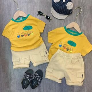 Bộ áo cotton quần đũi cho bé trai – màu vàng tươi sáng