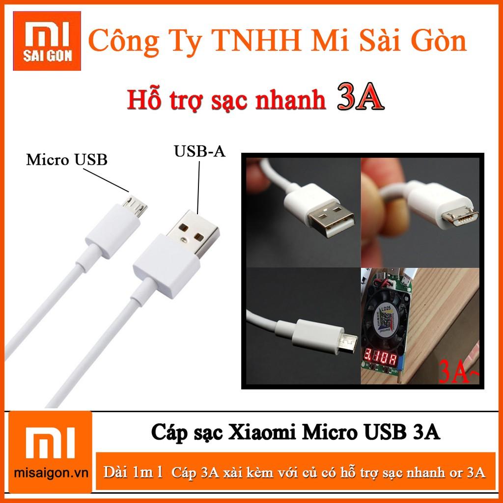 Cáp sạc Xiaomi Micro USB 3A (Trắng) Dài 1 Mét