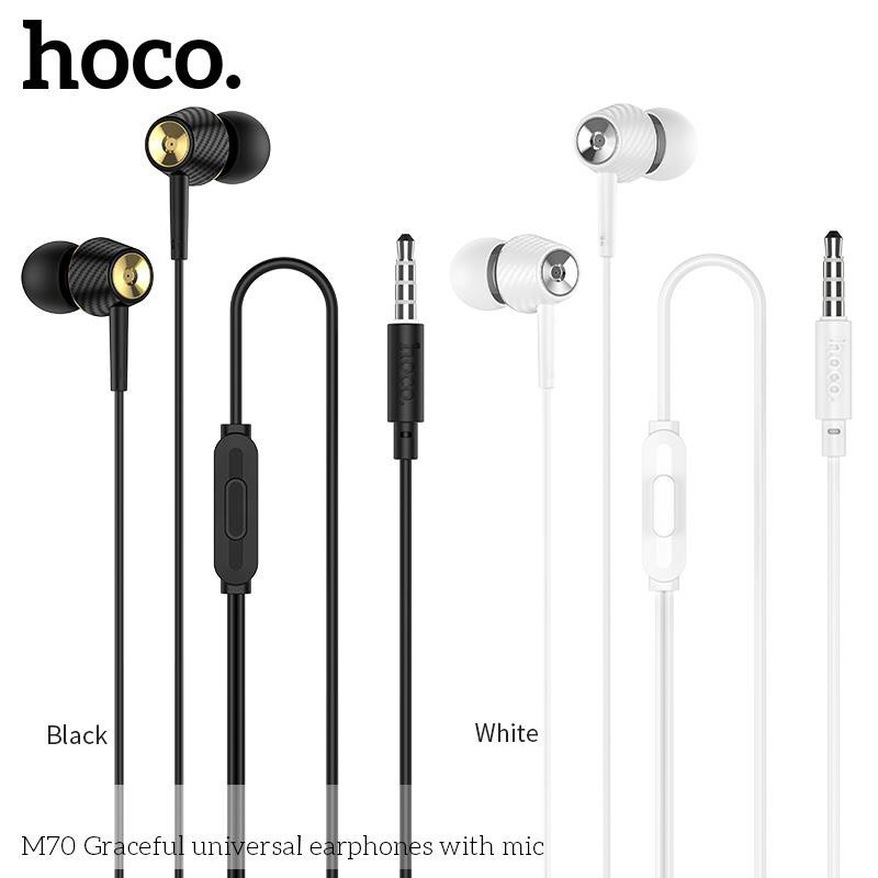Tai Nghe Hoco M70 đệm cao su Tai nghe dây kết nối jack 3.5. Dùng cho Android, IOS - Bảo hành 12 tháng đổi mới