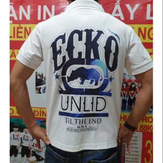 #Ecko# áo cổ trụ xanh thiế kế