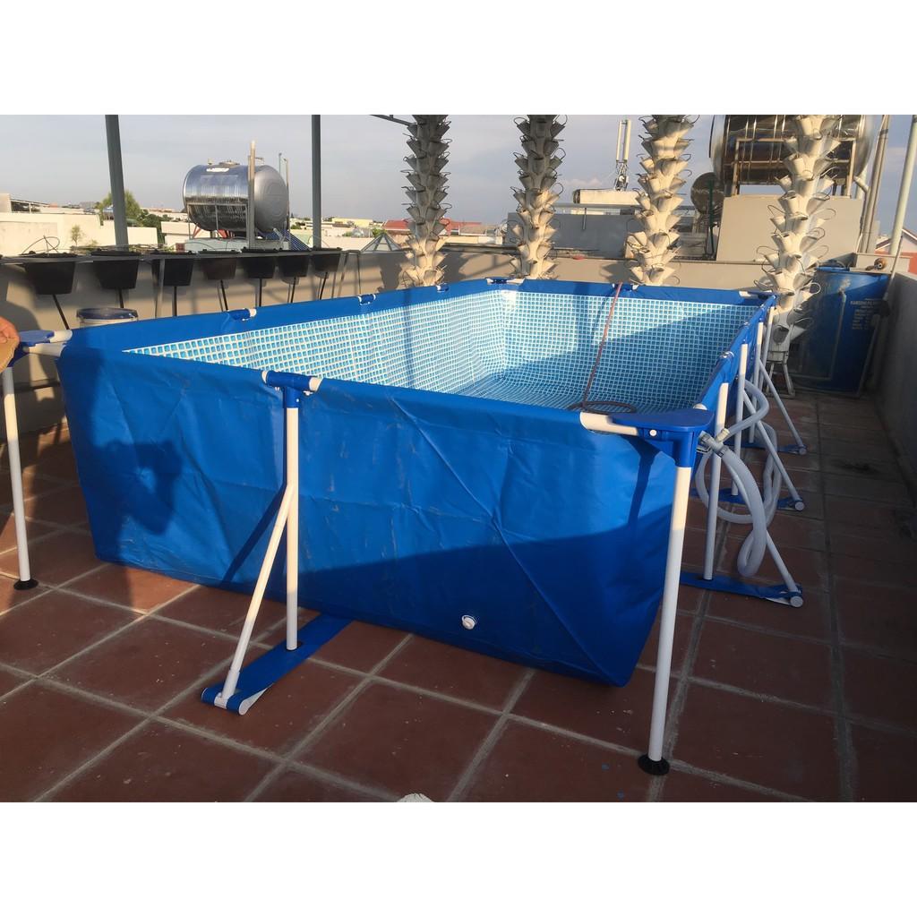 [Giảm Giá] Bể bơi khung kim loại chịu lực chữ nhật 4.5m X 2.2m cao 84cm tháo lắp dễ dàng, đẹp và bền bỉ