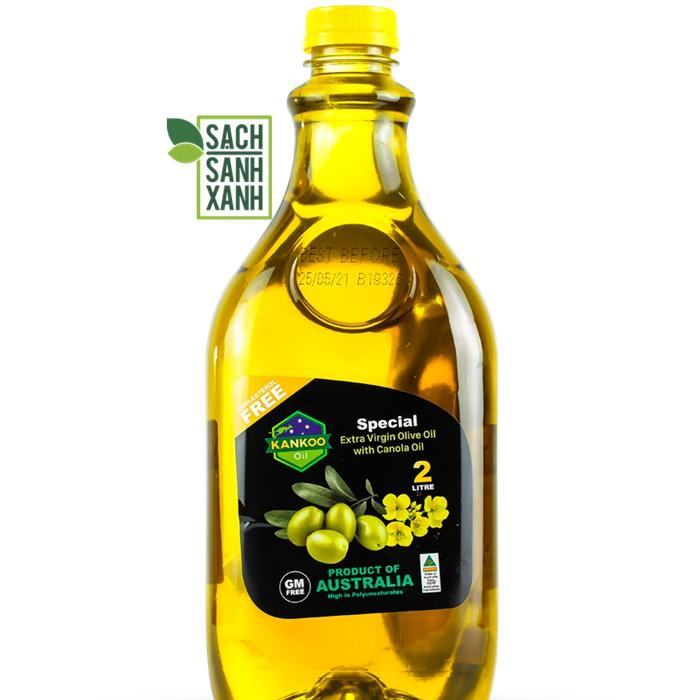 (Chai 2 lít) Dầu ăn Oliu hạt cải chuyên chiên xào, trộn Salad, nêm món ăn dặm Kankoo nhập khẩu Úc, cực tốt cho sức khỏe