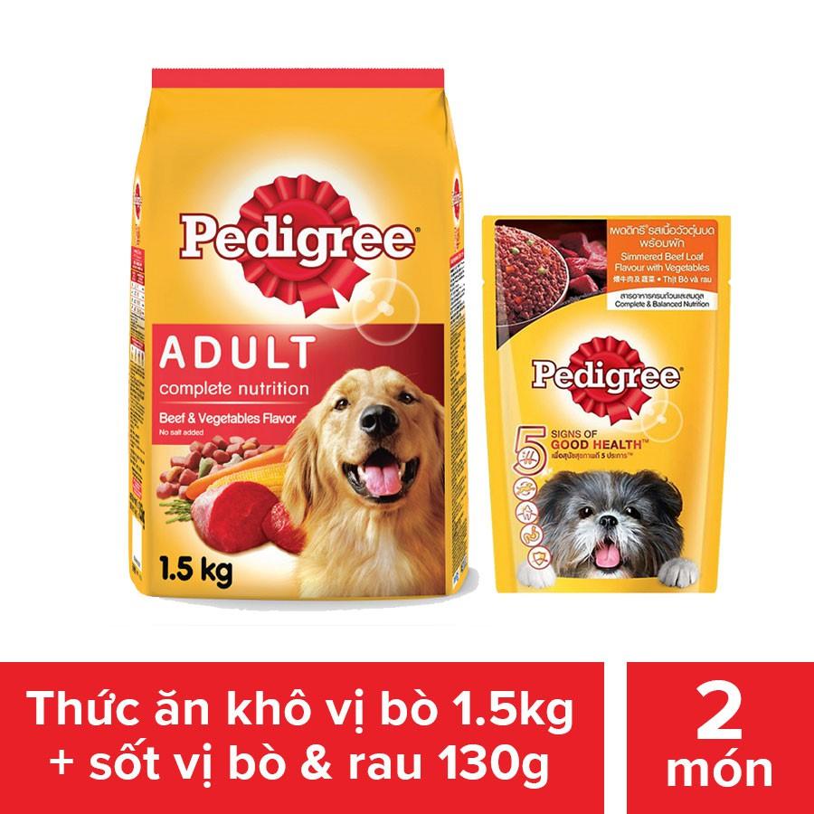 Bộ thức ăn dạng hạt cho chó lớn Pedigree 1.5kg + sốt dành cho chó lớn 130g vị bò và rau củ