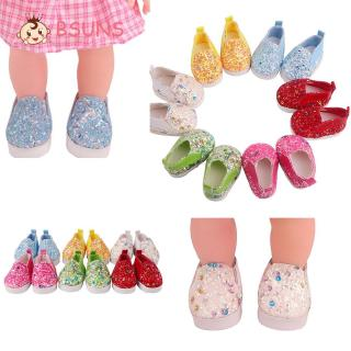 BSUNS 1Pair Small Shoes Fashion Birthday Gifts Children Toys Sequin Doll Shoes