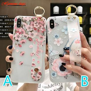 For iPhone 11 PRO MAX X XR XS Max 5s 6 6s 7 8 Plus Soft Flower Cover+Wristband