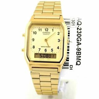 Đồng hồ nam/ nữ Casio AQ-230GA-9BMQ Chính hãng - Dây kim loai - Mạ Vàng