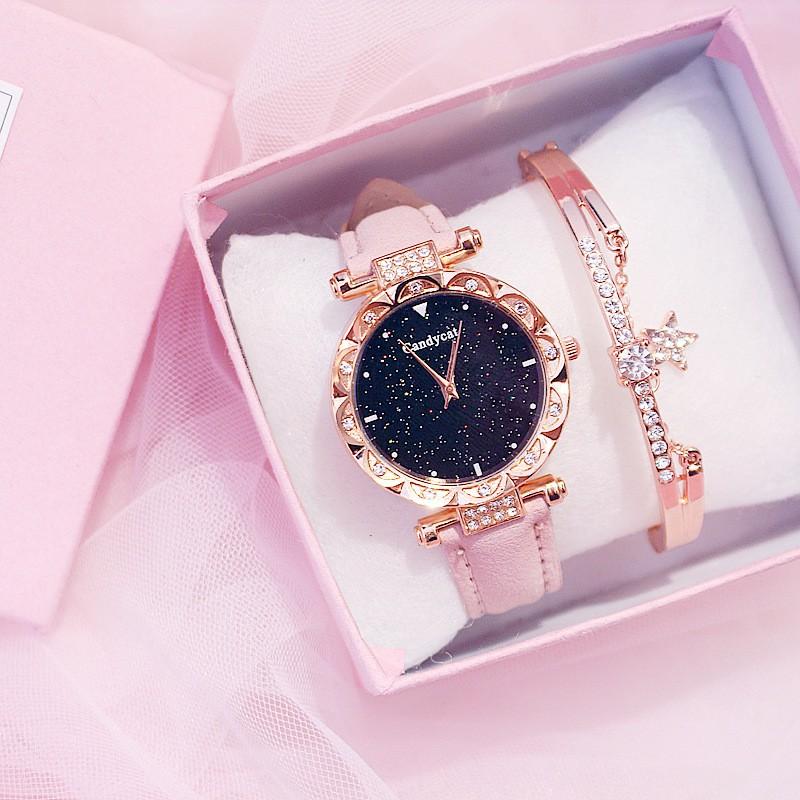 Đồng hồ thời trang nữ Candycat đính cườm G827