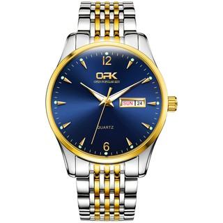 Đồng hồ OLEVS nam bộ chuyển động thạch anh chống thấm nước phong cách doanh nhân hiển thị lịch kim chỉ màu dạ quang