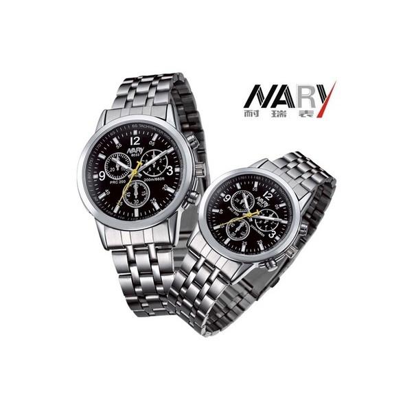 Đồng hồ nam nữ Nary mặt đen dây trắng