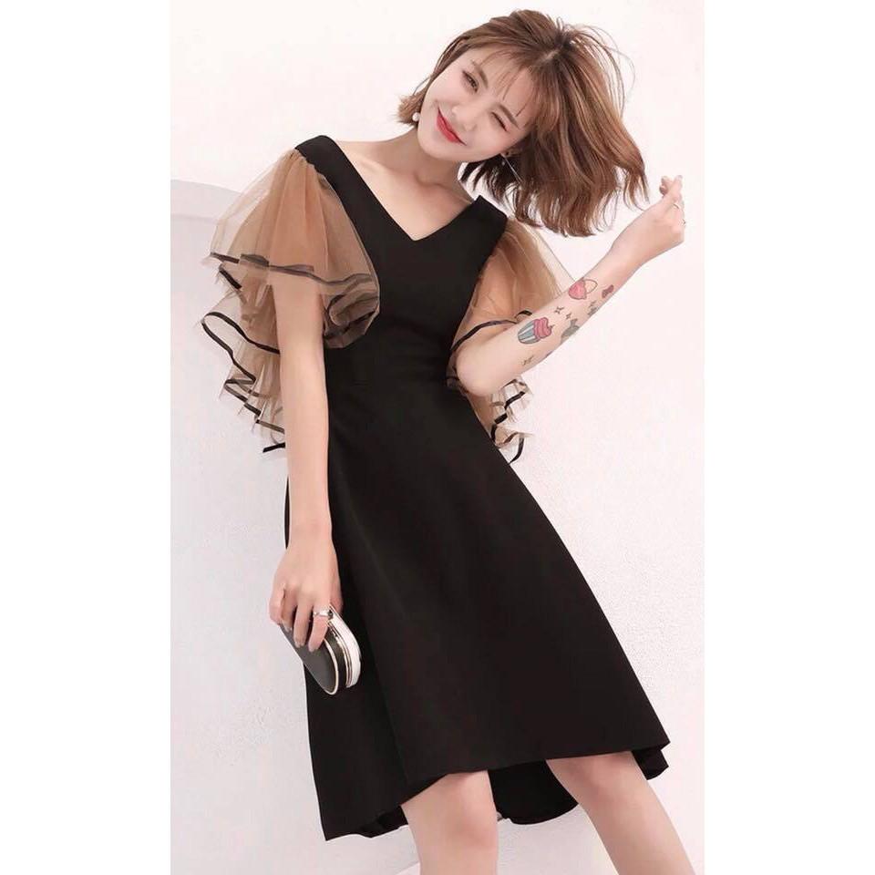 1621730261 - Đầm dự tiệc, đầm xòe Đầm cổ V phối lưới tay phồng nữ tính dịu dàng