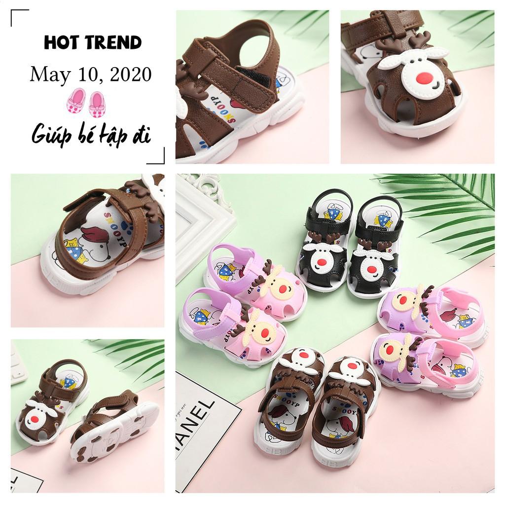 Giày tập đi cho bé 1-2-3 tuổi, dép quai hậu cho trẻ sơ sinh hình tuần lộc dễ thương