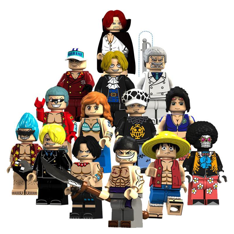 Lego blocks 14 chiếc / se One Piece Luffy Ace Râu trắng Naomi Franco Brook Sabong Chèn khối