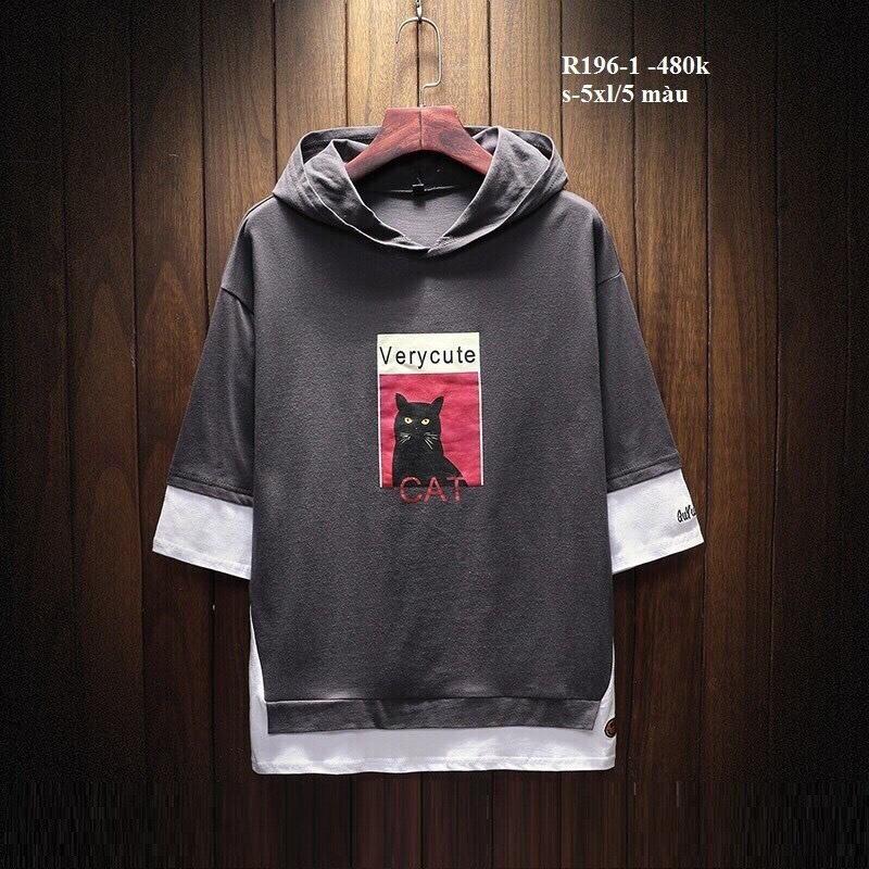 [CÓ ĐEN, XÁM, XANH - Kèm hình thật] Áo hoodie tay lở phối line mặt cười hình mèo cute unisex