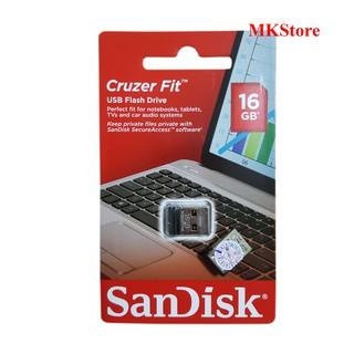 [Mã ELFLASH5 giảm 20K đơn 50K] Thiết bị lưu trữ USB Sandisk 16Gb 2.0 Cruzer Fit CZ33