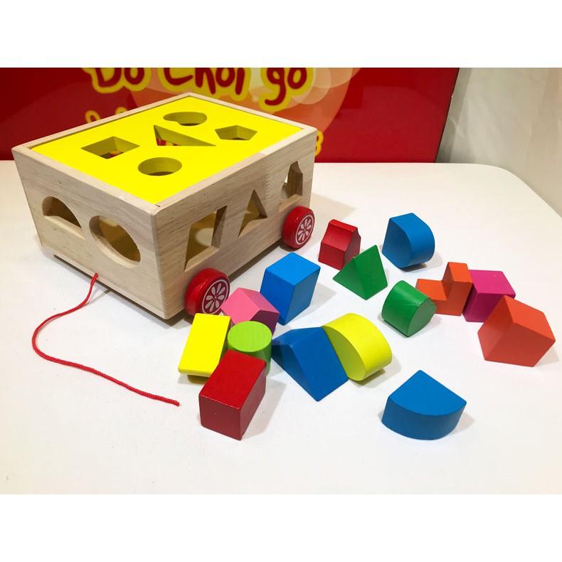 Xe kéo thả hình khối đồ chơi gỗ thông minh cho trẻ