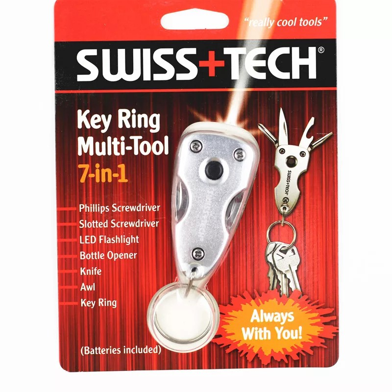 Móc khóa LED Đèn pin Survival Bộ dụng cụ ngoài trời SWISS TECH TOOL 7 IN 1