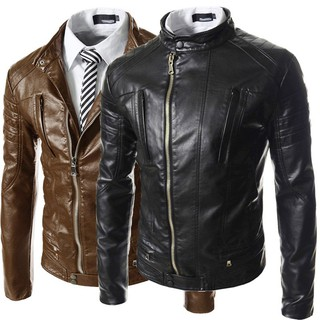 Stand collar zipper men's casual PU leather clothing 5662