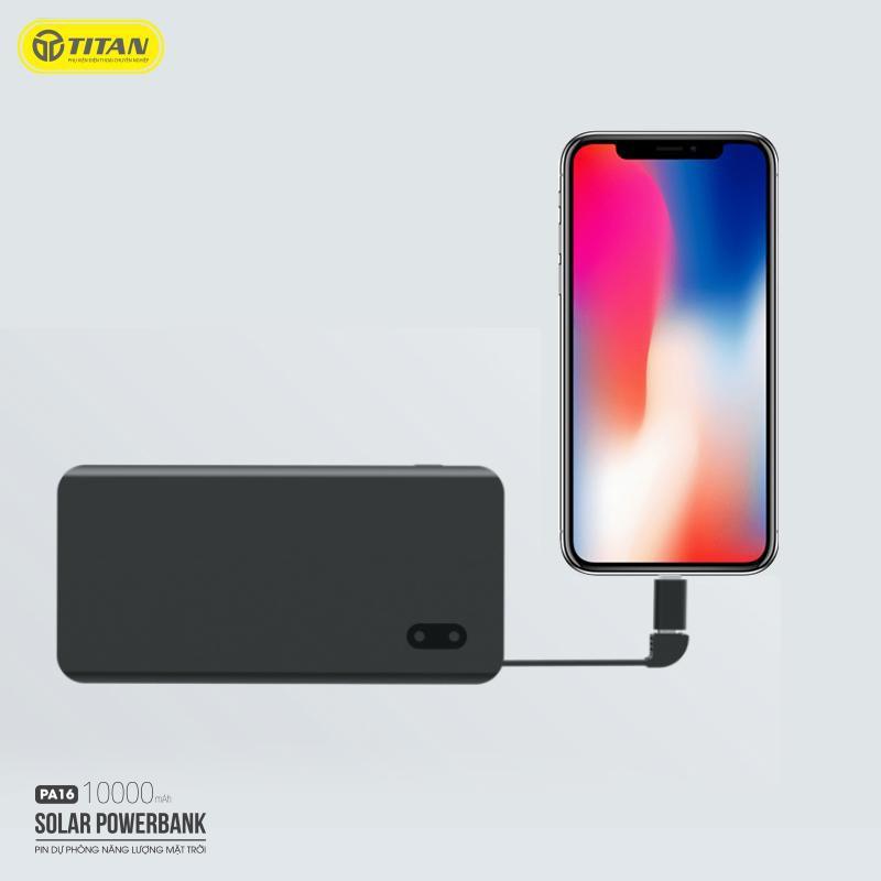 Pin dự phòng năng lượng mặt trời 10000mAh chính hãng TITAN PA16 liền dây cáp sạc cho iphone iPad Samsung Oppo IP