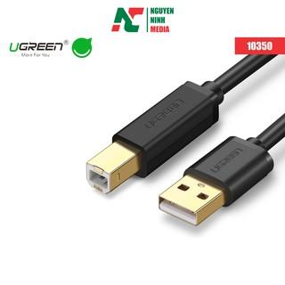 Dây máy in mạ vàng USB 2.0 chuẩn A đực sang chuẩn B đực dài 1.5M 3M UGREEN 10350 10351 (đen) - Hàng chính hãng