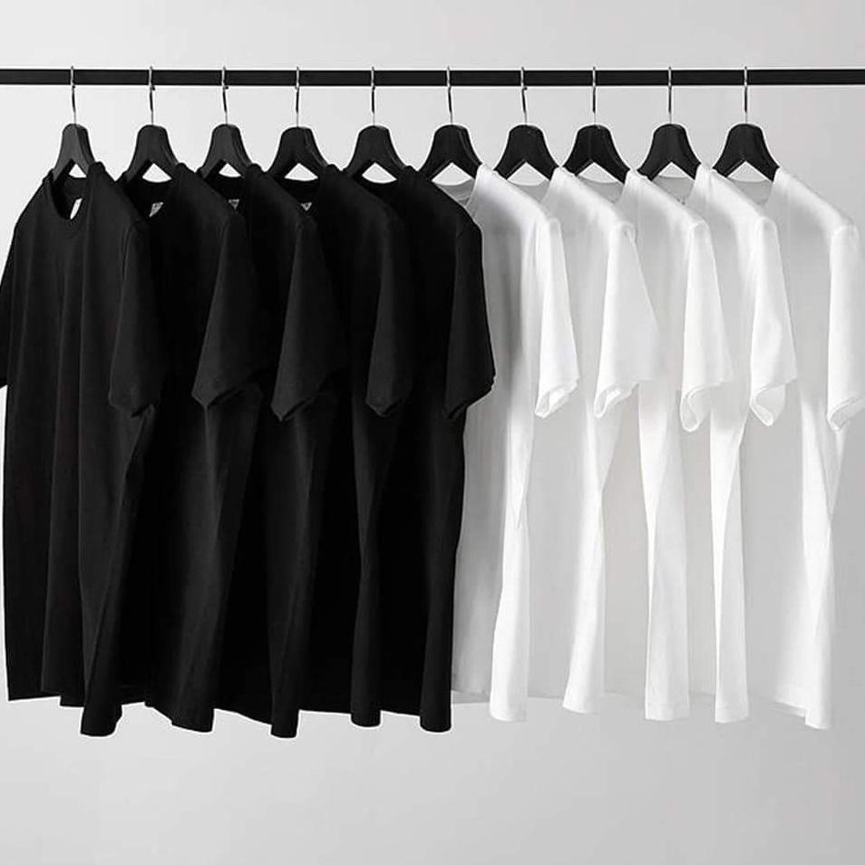 Áo phông thun nam tay lỡ form rộng unisex có cổ tròn chất cotton basic đẹp màu đen trắng FAVITI AT49