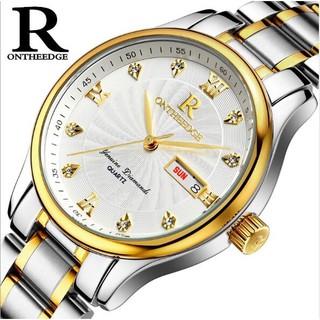 HOT TREND_ Đồng hồ nam R-Ontheedge Dây Thép Lịch Đôi - Dây Sọc Vàng . thumbnail