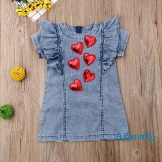 Đầm denim hình trái tim xinh xắn dành cho bé gái