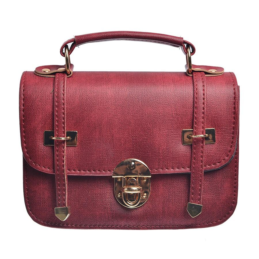 Túi xách nữ hộp trang trí 2 dải, màu đỏ - MS18 - Vrg1447